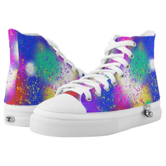 Psychedelic Purple Blue Pink Funky Art Design High Tops