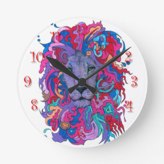 Psychedelic Purple Lion Round Clock