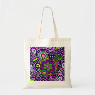 Psychedelic Purple Paisley Budget Tote Bag