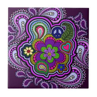 Psychedelic Purple Paisley Tile
