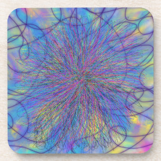 Psychedelic Purple Pink Star Abstract Art Design Coaster