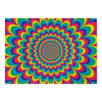 Psychedelic rainbow abstract design 13 cm x 18 cm invitation card