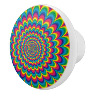 Psychedelic rainbow abstract design ceramic knob