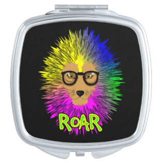 Psychedelic Rainbow Bespectacled Lion Roar Travel Mirror