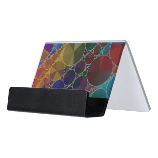 Psychedelic Rainbow Bling Abstract Desk Business Card Holder