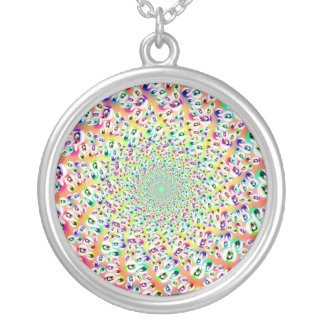 Psychedelic Rainbow Eyes Mandala Silver Plated Necklace