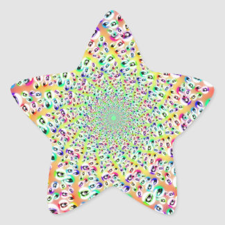 Psychedelic Rainbow Eyes Mandala Star Sticker