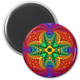 Psychedelic Rainbow Fractal 6 Cm Round Magnet