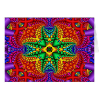 Psychedelic Rainbow Fractal Card