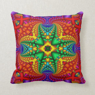 Psychedelic Rainbow Fractal Cushion