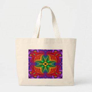 Psychedelic Rainbow Fractal Jumbo Tote Bag