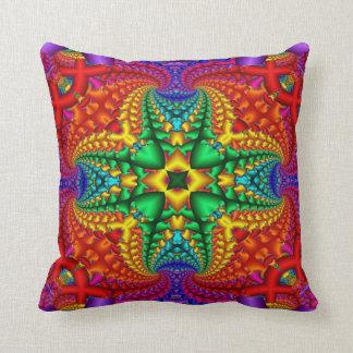 Psychedelic Rainbow Fractal Throw Cushions