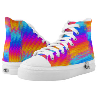 Psychedelic Rainbow Heat Waves High Tops