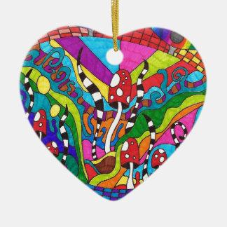 Psychedelic Rainbow Hippy Design Ceramic Heart Decoration