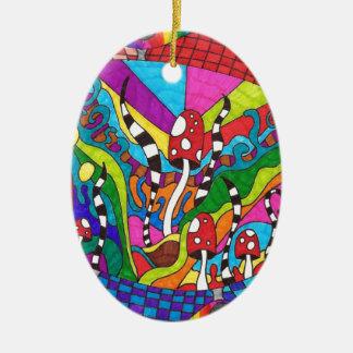 Psychedelic Rainbow Hippy Design Ceramic Oval Decoration