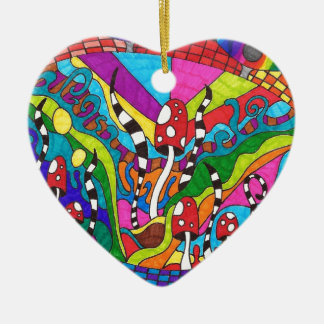 Psychedelic Rainbow Hippy Design Christmas Ornament