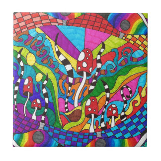 Psychedelic Rainbow Hippy Design Tile