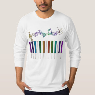 Psychedelic Rainbow Keys Piano Music T-Shirt