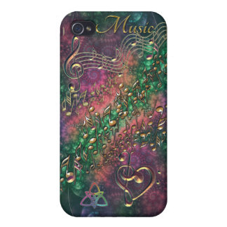 Psychedelic Rainbow Notes Symbolic Fractal iPhone 4/4S Cases