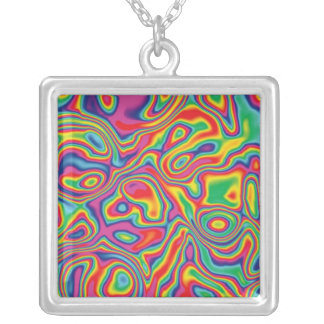 Psychedelic Rainbow Oil Pattern Necklace