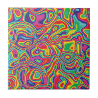 Psychedelic Rainbow Oil Pattern Tile