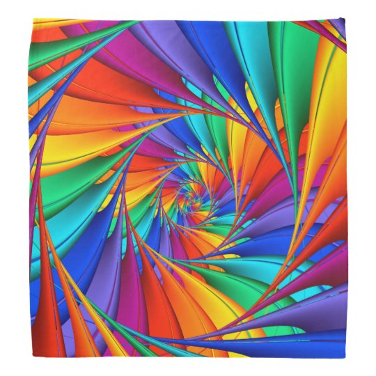 Psychedelic Rainbow Spiral Bandanna