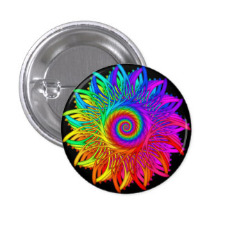Psychedelic Rainbow Spiral Button