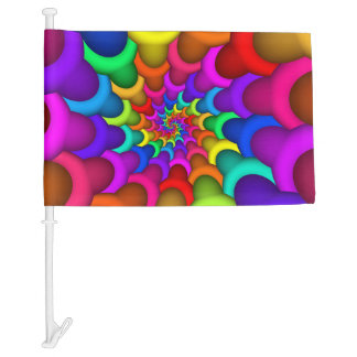 Psychedelic Rainbow Spiral Car Flag
