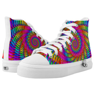 Psychedelic Rainbow Spiral High Top Shoes