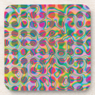 Psychedelic Rainbow Spots Pattern Coaster