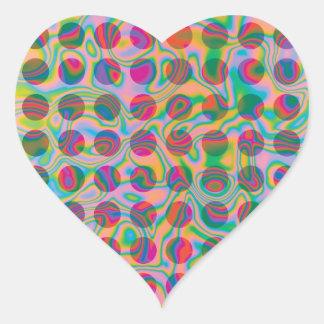 Psychedelic Rainbow Spots Pattern Heart Sticker