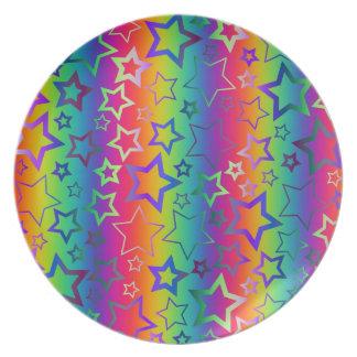 Psychedelic Rainbow Stars Plates