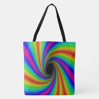 Psychedelic Rainbow Swirl Tote Bag