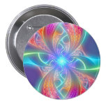 Psychedelic Rainbow Swirls Fractal Pattern 7.5 Cm Round Badge
