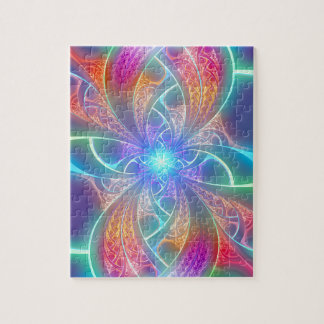 Psychedelic Rainbow Swirls Fractal Pattern Jigsaw Puzzle