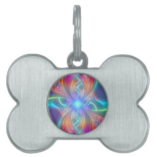 Psychedelic Rainbow Swirls Fractal Pattern Pet ID Tag