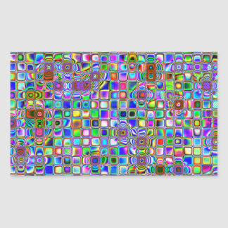 Psychedelic Rainbow Textured Mosaic Tiles Pattern Sticker