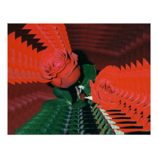 Psychedelic Red Roses Poster