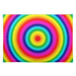 Psychedelic Round Circles Rainbow Pattern Placemat
