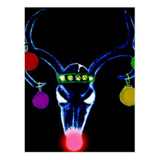 Psychedelic Rudolph Skull Postcard
