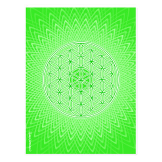 Psychedelic Sacred Geometry Heart Chakra Design Postcard