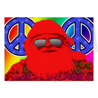 Psychedelic Santa Peace Card