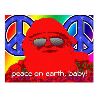 Psychedelic Santa Peace Postcard