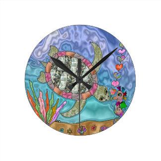 Psychedelic Sea Turtle Seahorse Art Round Clock