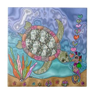 Psychedelic Sea Turtle Seahorse Art Tile