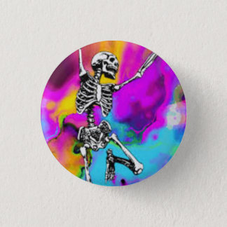 Psychedelic Skeleton 3 Cm Round Badge