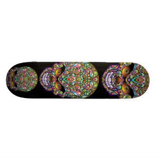 Psychedelic Skull Art Design Skateboard