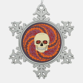 Psychedelic Skull Snowflake Pewter Christmas Ornament