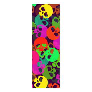 Psychedelic Skulls Bookmark Pack Of Skinny Business Cards