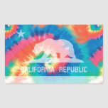 Psychedelic Soul Tie Dyed California Republic Flag Rectangular Sticker